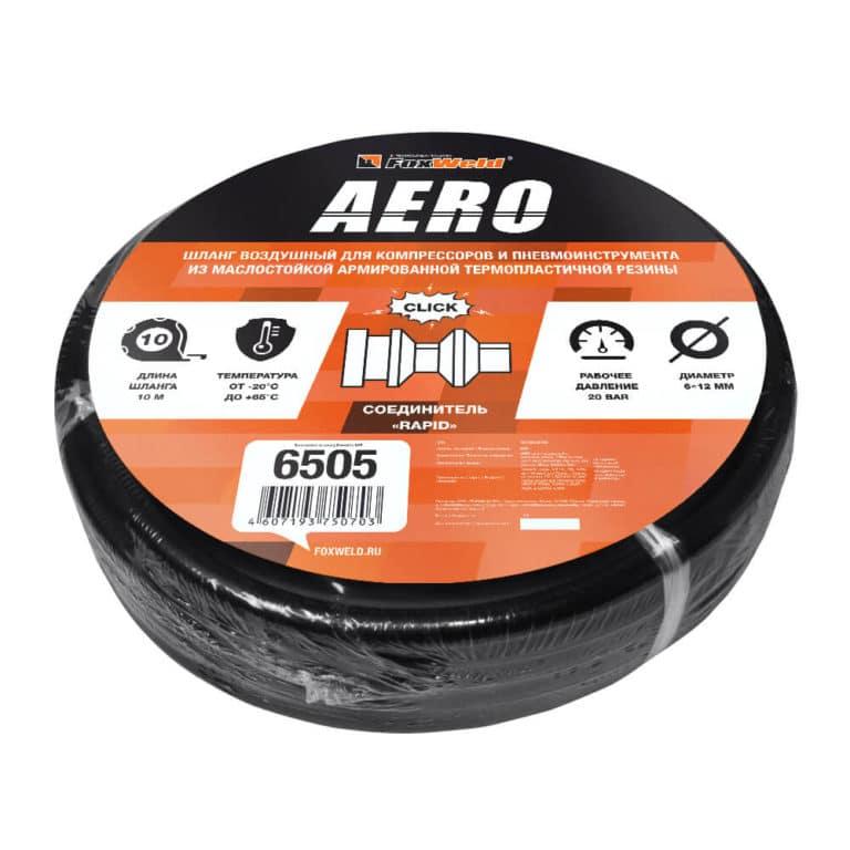 Шланг Foxweld AERO воздушный для компрессоров и пневмоинструмента с фитингами рапид, маслостойкая армированная термопластичная резина, 20бар, 6×12мм, 10м